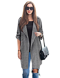 Women's Plus Size Trench Coat,Solid Asymmetrical Long Sleeve Fall Gray Cotton Opaque