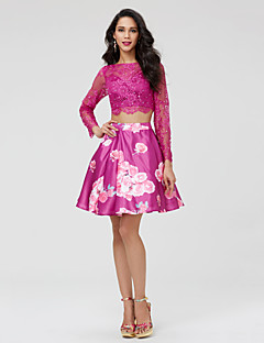 TS Couture Cocktail Party Dress - Two Pieces Pattern Dress A-line Bateau Short / Mini Lace Satin with Beading Lace Pleats
