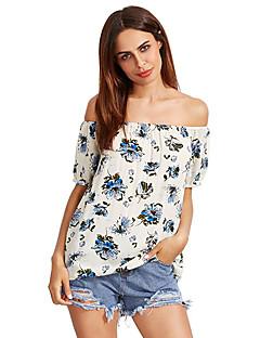 Feminino Camiseta Casual SimplesEstampado Algodão Decote Canoa Manga Curta