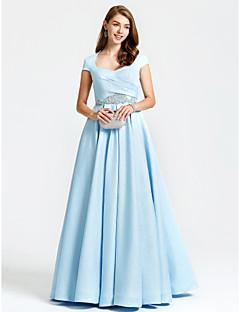 TS Couture ערב רישמי שמלה - בהשראת וינטאג' גזרת A המלכה אן עד הריצפה סאטן עם חרוזים כיסים קפלים
