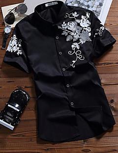Men's Casual/Daily Simple Shirt,Print Shirt Collar Short Sleeve Cotton Thin