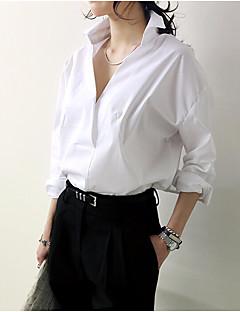 Majica Ženske,Jednostavno Ležerno/za svaki dan Jednobojni-Dugih rukava V izrez Pamuk
