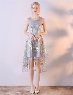 Κοκτέιλ Πάρτι Φόρεμα Γραμμή Α Σχήμα U Ασύμμετρο Οργάντζα με Κέντημα