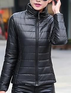 Manteau Rembourré Femme,Court simple Décontracté / Quotidien Couleur Pleine-Coton Polypropylène Manches Longues Mao