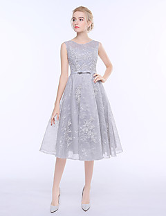 A-Line Jewel Neck Tea Length Tulle Bridesmaid Dress with Lace