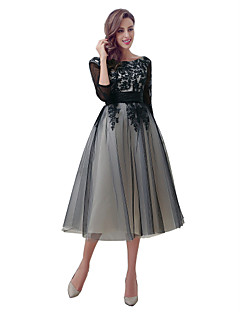 Ball Gown Wedding Dress Black Wedding Dress Tea-length Scoop Organza with Appliques