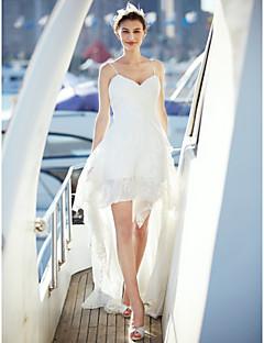 LAN TING BRIDE А-силуэт Свадебное платье Маленькие белые платья Со шлейфом средней длины На тонких бретелях Шифон Кружева с Перекрещивание