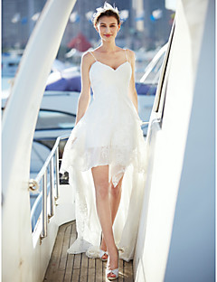 LAN TING BRIDE A-라인 웨딩 드레스 리틀 화이트 드레스 코트 트레인 스파게티 스트랩 쉬폰 레이스 와 크리스-크로스