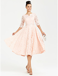 נסיכה צמוד ומתרחב וי קטן באורך הקרסול תחרה ערב רישמי שמלה עם אפליקציות פרטים מקריסטל על ידי TS Couture®