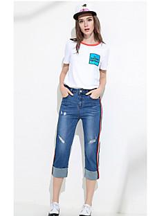 Damen Einfach Mittlere Hüfthöhe Hochelastisch Jeans Stifte Hose Solide