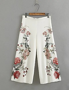 Women's Floral Patterns Slim Jeans Pants,Going out Casual/Daily Simple Street chic Solid Mid Rise Zipper Polyester Micro-elastic Fall Winter