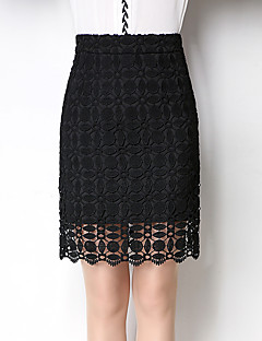 Women's Knee-length Skirts,Sexy Simple Bodycon Pure Color Lace Jacquard Solid