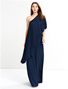 Dámské Vintage Běžné/Denní / Velké velikosti Volné Šaty Jednobarevné,Krátký rukáv Asymetrický Maxi / Délka ke kolenůmModrá / Červená /