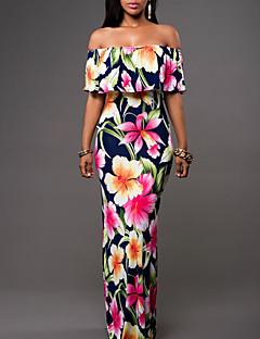 Γυναικείο Αργίες Μεγάλα Μεγέθη Μπόχο Θήκη Φόρεμα,Φλοράλ Αμάνικο Ώμοι Έξω Μακρύ Πολυεστέρας Καλοκαίρι Κανονική Μέση Μικροελαστικό