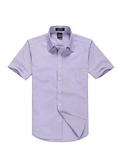 Masculino Camisa Social Festa Casual Trabalho Simples Todas as Estações Verão,Sólido Algodão Poliéster Colarinho de Camisa Manga Curta