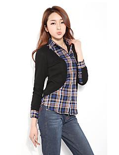 Feminino Camisa Social Férias Casual Praia Simples Fofo Moda de Rua Primavera Outono,Xadrez Algodão Poliéster Elastano Colarinho de Camisa