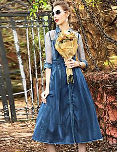 Damer Fest I-byen-tøj Afslappet/Hverdag Løstsiddende Kjole Ensfarvet,Høj krave Midi Halvlange ærmer Silke Bomuld Øvrigt Sommer Efterår