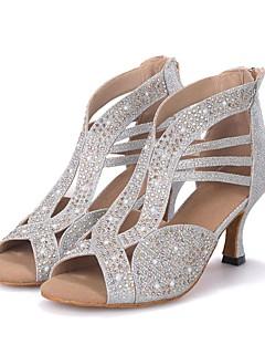 Personalizável Feminino Latina Jazz Moderna Sapatos de Swing Glitter Sandálias Saltos Profissional ApresentaçãoPedrarias Com Glitter