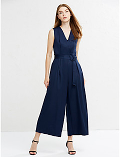Women's Wide Leg Wide Leg Thin Jumpsuits Going out Street chic Solid V Neck Sleeveless Mid Rise Cotton Micro-elastic Summer
