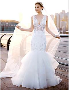 LAN TING BRIDE 핏 & 플레어 웨딩 드레스 오픈백 스윕 / 브러쉬 트레인 V-넥 레이스 튤 와 레이스 옆면 드레이프트