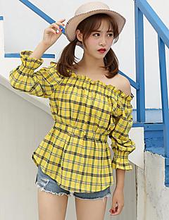 דפוס סירה רחב פשוטה חמוד יום יומי\קז'ואל חולצה נשים,אביב קיץ שרוול ארוך דק כותנה