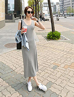 Women's Beach T Shirt Dress,Solid Strap Maxi Sleeveless Others Summer Mid Rise Micro-elastic Medium