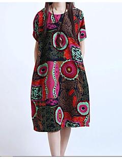 レディース アジアン・エスニック プラスサイズ ルーズ ドレス,幾何学模様 ラウンドネック 膝丈 半袖 リネン 夏 ミッドライズ 伸縮性なし 薄手