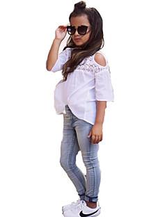 Mädchen Sets Modisch Spitze Denim Polyester-Taft Sommer Kleidungs Set