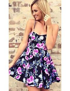 Для женщин На каждый день Секси Простое Оболочка Платье Цветочный принт,На бретелях Мини Выше колена Без рукавов Искусственный шёлк Другое