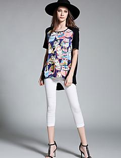 Dames Eenvoudig Actief T-shirt,Feestje/cocktail Casual/Dagelijks Print Ronde hals Korte mouw Polyester
