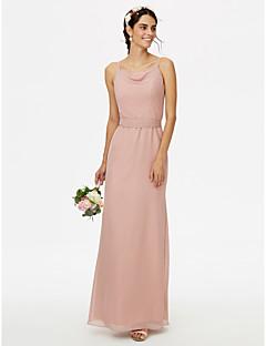 LAN TING BRIDE Longo Com Alças Finas Vestido de Madrinha - Elegante Sem Mangas Chiffon
