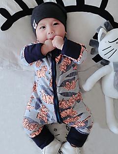 bebê Peça Única Fashion Floral Patchwork Primavera Outono Algodão Manga Longa