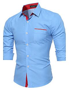 メンズ カジュアル/普段着 シャツ,シンプル シャツカラー カラーブロック 千鳥格子 コットン 長袖