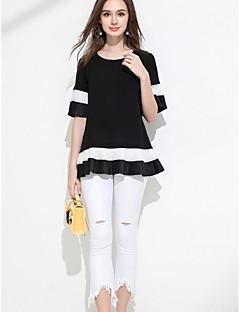 Damen Solide Einfach Alltag Bluse,Rundhalsausschnitt Kurzarm Polyester