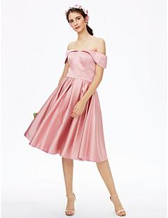 LAN TING BRIDE באורך  הברך מתחת לכתפיים שמלה לשושבינה  - אלגנטי גב פתוח שרוול קצר סאטן