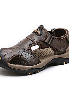 Herren Sandalen Komfort Nappaleder Sommer Sportlich Wasser-Schuhe Komfort Klettverschluss Flacher Absatz Braun Dunkelbraun Khaki Flach