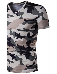 Men's Casual Active Summer T-shirt,Camouflage Color V Neck Short Sleeve Polyester Thin