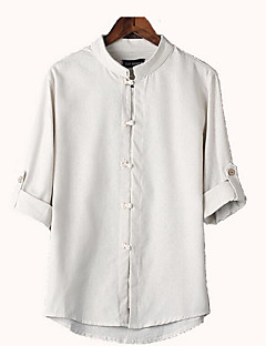 Men's Casual/Daily Simple Shirt,Solid Stand ½ Length Sleeve Linen Thin