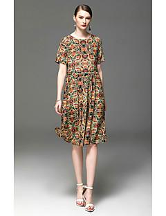 Kadın Dışarı Çıkma Günlük/Sade A Şekilli Elbise Desen,Kısa Kollu Yuvarlak Yaka Diz-boyu Polyester Bahar Yaz Yüksek Bel Mikro-Esnek İnce