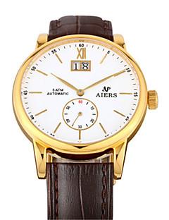 Pánské Módní hodinky mechanické hodinky Automatické natahování Kalendář Voděodolné Kůže Kapela Černá Hnědá