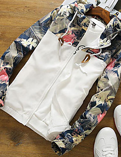 Men's Casual/Daily Simple Spring Jacket,Floral Hooded Long Sleeve Regular Polyester
