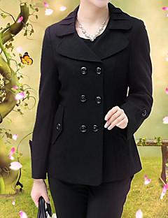 Feminino Terno Casual Simples Primavera/Outono,Sólido Curto Algodão Colarinho de Camisa Manga Longa