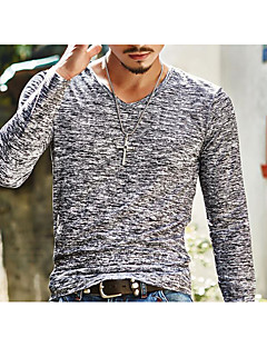 Men's Going out Active T-shirt,Solid Round Neck Long Sleeves Cotton