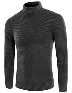 Normal Pullover Avslappet Vintage Herre,Ensfarget Høyhalset Langermet Bomullsblanding Høst Vinter Medium Elastisk
