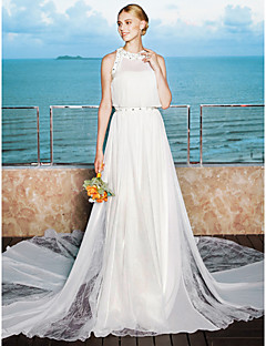 LAN TING BRIDE A-라인 웨딩 드레스 - 엘레강스&럭셔리 투피스 채플 트레인 끈없는 스타일 쉬폰 레이스 와 비즈 드레이프트 허리끈 / 리본