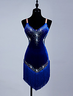 Shall We Latin Dance Dresses Women's Performance Spandex Organza Crystals/Rhinestones
