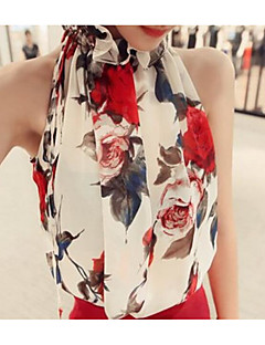Women's Party Casual/Daily Cute Summer Blouse,Print Halter Sleeveless Cotton