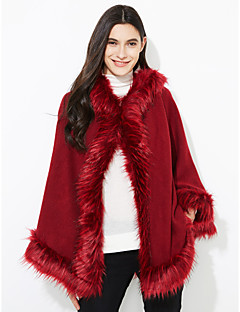 Women's Casual/Daily Fur CoatSolid Hooded Long Sleeve Winter Blue / Red / Beige / Black / Green Faux Fur Thick