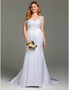 LAN TING BRIDE Mořská panna Svatební šaty - Elegantní & moderní Open Back Velmi dlouhá vlečka Satén s Korálky Aplikace Křížení Sklady