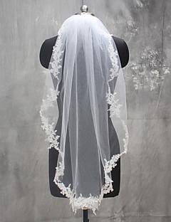 Véus de Noiva Uma Camada Véu Ombro Véu Ponta dos Dedos Véus de Primeira Comunhão Borda com aplicação de Renda Renda Tule